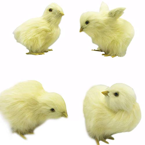 - SODIAL 4 Pcs Eat Fly Yellow Baby Chick Lifelike Furry Chicken Figurine Fur Plush Animal Toy