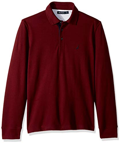Nautica Men's Long Sleeve Solid Polo Shirt, Royal Burgundy/red, -
