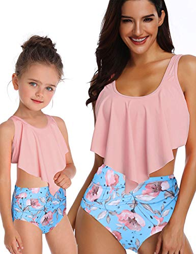 Mommy and Me Swimsuits High Waisted Tankini Set Women Girl 2 Pcs Family Matching Swimwear Best Gift for Birthday (D Pink, Girl 6-8Y (Tag 140))