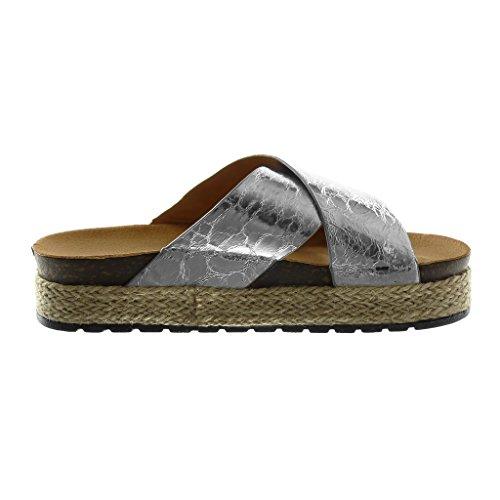 Slip Mule 4 Vieilli on cm Compensé Chaussure Mode Plateforme Corde Plateforme Effet Angkorly Argent Brillant Tréssé Sandale Talon Femme xXIt0