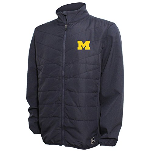 Crable NCAA Michigan Wolverines Men's Quilted Front Panel Bonded Jacket, XXL, Navy/Navy Heather