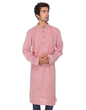 Rajrang Designer Mens Kurta Casual Indian Khadi Long Kurta, rojo y blanco, Length-43, Chest-46 Inches