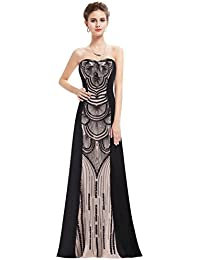 Womens Elegant Strapless Gatsby Inspired Evening Prom Dress