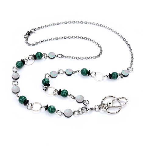 LUXIANDA Women's Green Malachite Beads Lanyard Necklace, Jewelry ID Badge with Stainless Steel Chain and Key Holder for Employer, Nurse, Teacher ID