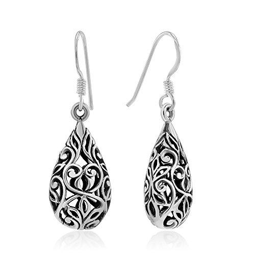 925 Sterling Silver Bali Inspired Open Filigree Puffed Teardrop 1 inch Dangle Hook Earrings