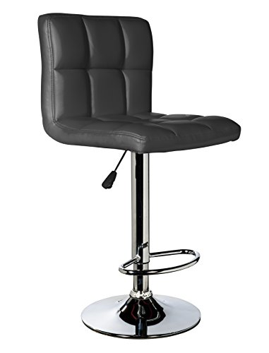 IntimaTe WM Heart Adjustable Swivel Bar Stools Set Of 2,Faux Leather Gas Lift Modern Square Kitchen Chairs With Back(Black) For Sale