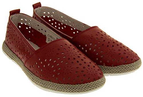 Coolers HD928 Mujer Cuero Genuino Zapatos Casuales de Verano Rojo