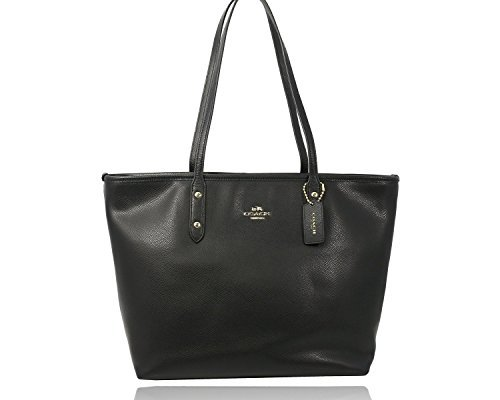 Coach Black Cross-grain Leather City Zip Top - Carriage And Coach Horse Bag With