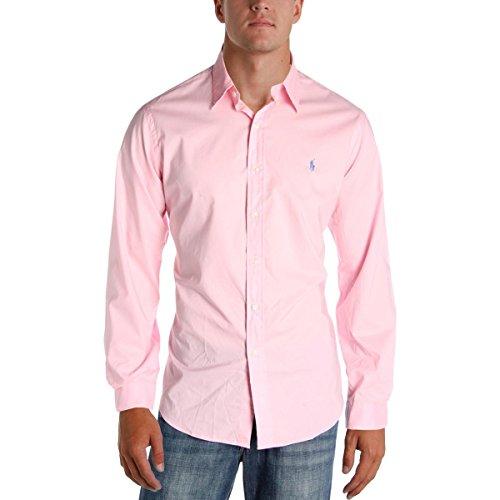 RALPH LAUREN Mens Cotton Dressy Button-Down Shirt Pink M