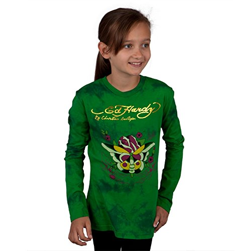 (Ed Hardy - Butterfly Rose Girls Youth Long Sleeve - Youth Medium)