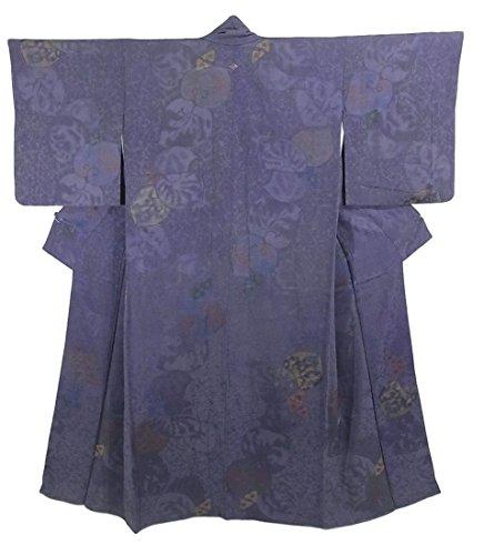 クラックポット建築十分なリサイクル 着物 お召  葵文様や花模様 縫い取り 一つ紋 正絹 袷 裄63cm 身丈145cm