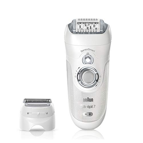 Braun Silk-épil 7-880 SensoSmart Epilator for Women, Silver - Cordless Wet & Dry Epilator with 7 Extras (Philips Epilator Sensitive)