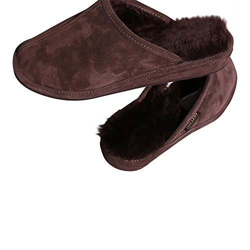 Piel de cordero Zapatillas - MICHAEL Hombre Zapatillas Zapatillas de casa Marrón