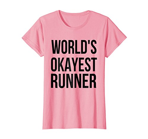 Womens Worlds Okayest Runner Funny Birthday Gift Shirt For Runners Large Pink