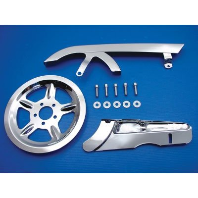 Chrome Belt Guard and Pulley Cover Kit for Harley 2004+ Sportster (C01120251) Chrome Belt Pulley