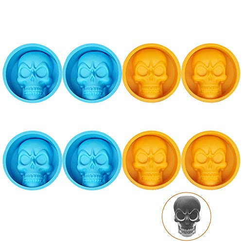 8 PCS Silicone Cool Mini Skull Ice Chocolate Molds for Baking Cake Cookie Blue and Orange