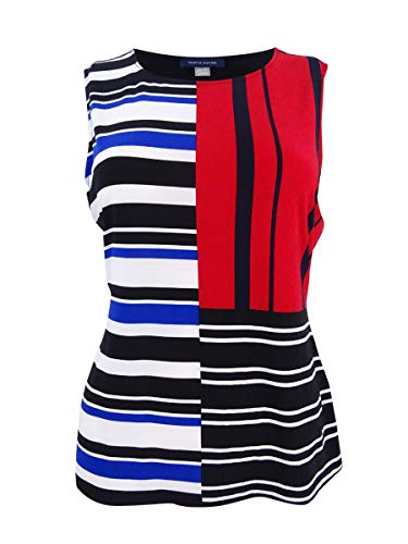 s Patchwork Print Striped Camisole Top Black M ()