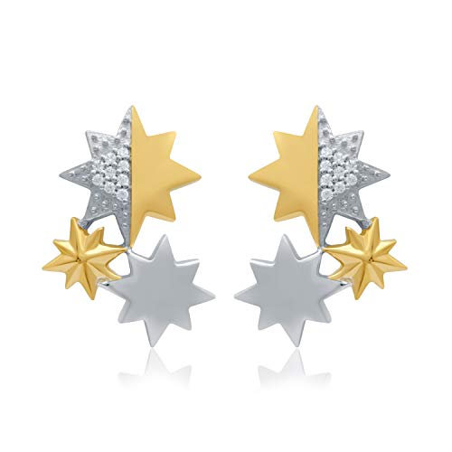 UNIVERSE FINE JEWELRY - Diamond-Accent Two-Tone Star Triad Cluster Stud Earrings Inspired by Marvel's Captain ()