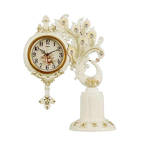 ZAZAZA Health UK Clock- Clock Continental Peacock Diamond Plastic Carving Retro Sweep Seconds Mute Rocking Table Clock Welcome (Color : A) by ZAZAZA