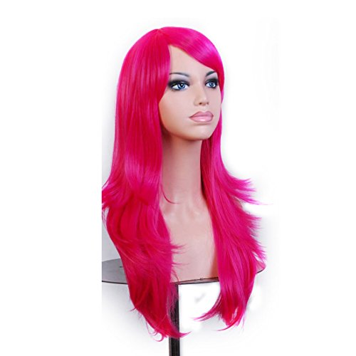 Wigood 28 inch Hot Pink Long Curly Hair With Air Bangs Cosplay Wig with Free Wig Cap for Women
