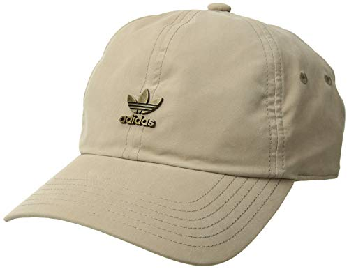 adidas Men's Originals Metal Logo Relaxed Adjustable Strapback Cap, Trace Khaki/Distressed Gold, One Size Brim Logo Adjustable Hat