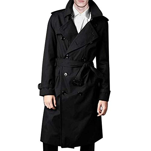 LINGMIN Men's Double Breasted Trench Coat Casual Lapel Long Sleeve Windbreaker Jacket Black
