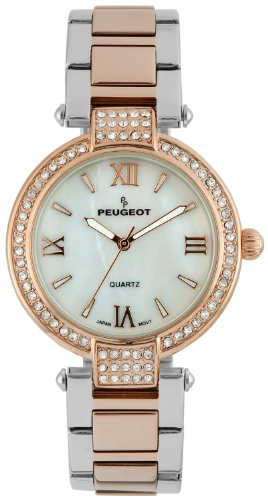 Watch Bezel Peugeot (Peugeot Women's Two-Tone Silver Rose Gold Crystal Bezel Mother of Pearl Roman Numeral Stainless Steel Bracelet Dress Watch 7084TTR)