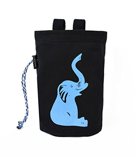 chaandu Blue Elephant Chalk Bag with Belt and Pocket for Phone, ID & More for Rock Climbing - with Elastic Brush Holder by chaandu