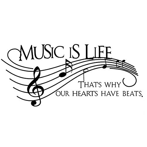 (Homefind Musical Notes Walls decals - Music Is Life That's Why Our Hearts Have Beats - Stickers for Kids Bedroom Music Room Dance Room Vinyl Art Décor House Decoration (Black)