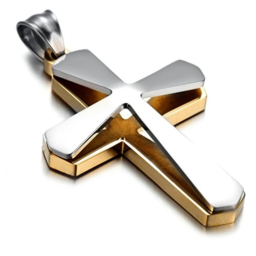Epinki Unisex Pendant, Stainless Steel Cross Necklace Silver Gold 3258MM