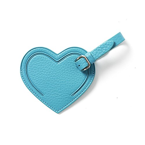 Small Heart Luggage Tag - Full Grain Leather - Teal (blue) Heart Italian Bag