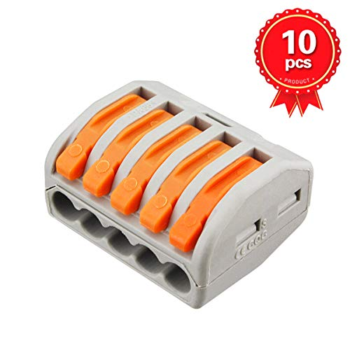 Fast Connector - Lever-nuts 5 Conductor Combination Compact Wire Connectors 5 Port Fast Connection Terminal 28-12 AWG Suitable for Multiple Types of Wires
