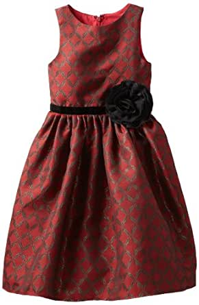 Us Angels Little Girls'Diamond Jacquard Dress, Red, 4