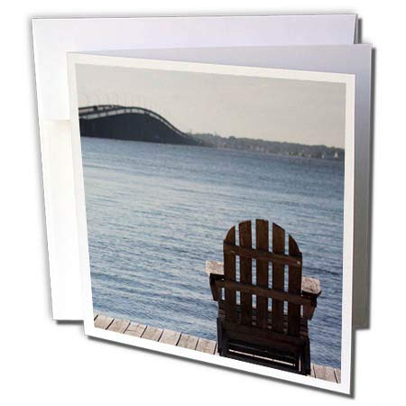 - 3dRose Stamp City - Landscape - Relax on an Adirondack Chair on The Dock Overlooking The Barnegat Bay. - 6 Greeting Cards with envelopes (gc_295244_1)