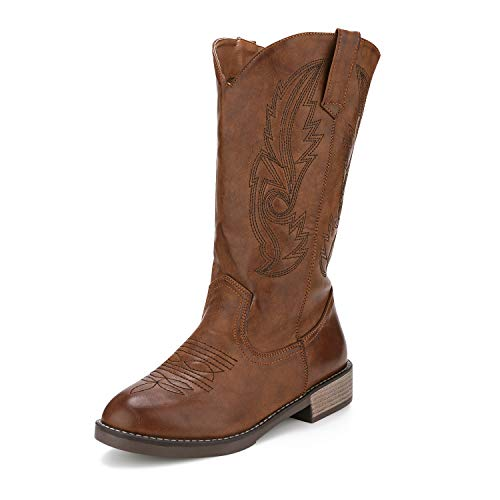 Freemin Women's Western Cowboy Boots Mid Calf Round Toe Embroidered Dark Brown US 7 ()