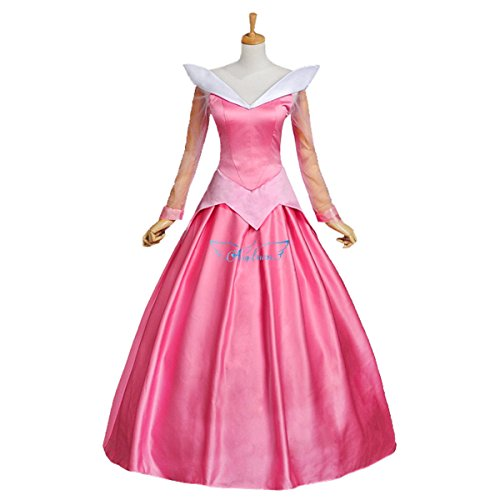 [Angelaicos Womens Satin Princess Dress Halloween Cosplay Costume (M, Pink)] (Pink Lady Costume Images)