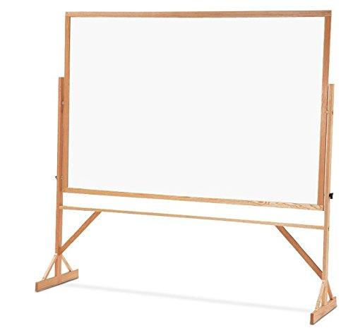 Quartet Standard Melamine Reversible Whiteboard, 4 x 6 Feet, Includes Accessory Rail, Oak Frame (WMR406)