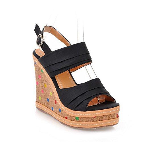 AgooLar Women's High Heels Soft Material Solid Buckle Open-Toe Sandals Black