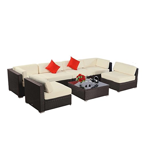 - 7pcs Polar Aurora Furniture Sectional PE Wicker Rattan Sofa Set Deck Couch(Brown)