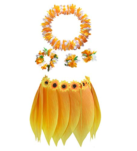 (Hawaiian Leaf Hula Skirt Tropical Party Grass Skirt Yellow Sunflower Leis Hula Costume(Adults 5PCS))