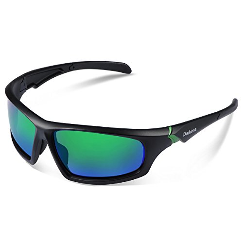 Duduma Tr601 Polarized Sports Sunglasses for Baseball Cycling Fishing Golf Superlight Frame (639 Black matte frame with green - Golf Lenses Sunglasses Best For