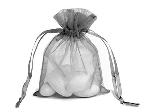 "Organza Drawstring Pouches Gift Bags 4""x6"" - 60 Premium Quality (silver)"