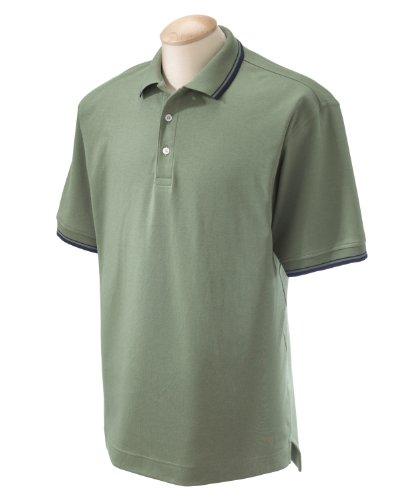 Pima Cotton Pique Polo Shirt (Devon & Jones Mens Pima Pique Long-Sleeve Polo (D110) -DILL -M)