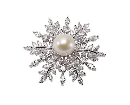 JYX Pearl Lustrous 13mm White Round Edison Pearl Brooch Pin with Shiny Zircons-Silver - 13 Mm Round Pearl