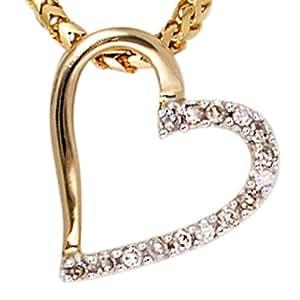 Colgante corazón colgante 15 diamantes brillantes 585 oro amarillo