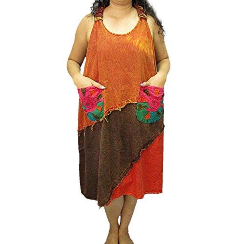 D0251 Women's 2 Cotton Knot Back Sleeveless Pocket Dress CBrqAx0Bw