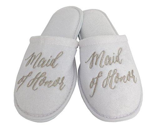 Wedding Slippers - (Medium (W6-8), Maid of ()