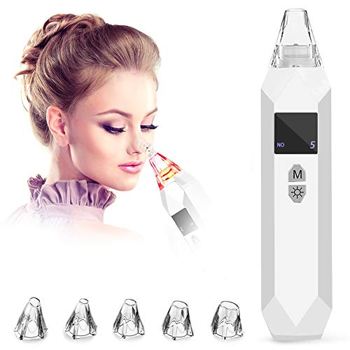 Hieha Blackhead Remover Pore Extractor 5 in 1 Electric Facial Nose Vacuum Clearner Acne Comedone Extractor Suction Kit Tool with USB Rechargeable and LED Display for Women Men,White