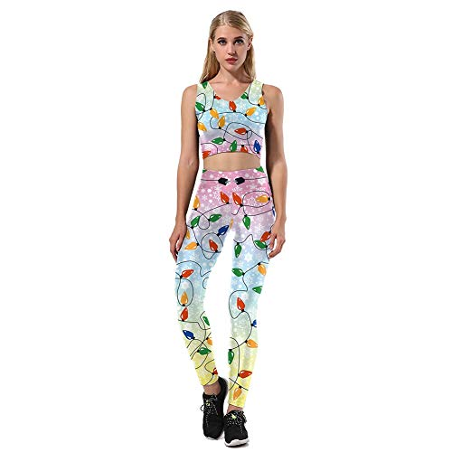 YaXuan Christmas Women's Costume, Fashion 3D Printing Sleeveless Tops Long Pants Breathable Bodybuilding Pants Set Christmas/Carnival Festival (Color : 2, Size : XL) ()