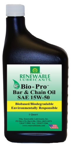 Renewable Lubricants Bio-Pro Bar and Chain Saw/Chainsaw Oil, Works with Electric Chainsaw, Battery Chainsaw or 2 Stroke Oil Chainsaws, Perfect Environmentally Friendly Bar and Chain Lube, 1 qt